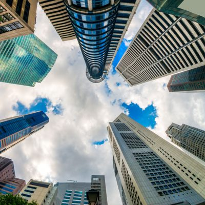 Singapore skyline as looking from below into the sky
